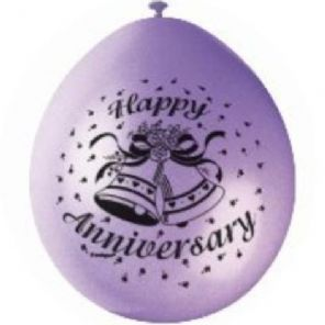 "10 'Happy Anniversary' 9"" Assorted Colour Balloons"